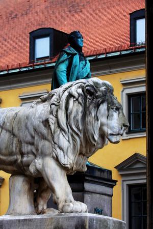 bayern old town: Munich, Bavarian Lion Statue in front of Feldherrnhalle, Ludwig I of Bavaria, Bavaria, Germany