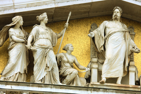 pallas: the parliament in vienna, austria. with the statue of pallas athene the greek goddess of wisdom. Editorial