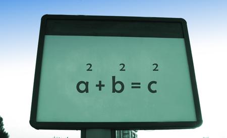 teorema: El teorema de Pit�goras s en una cartelera Foto de archivo