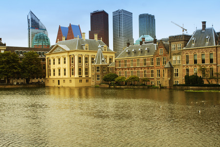 The Hagues Binnenhof with the Hofvijver lake