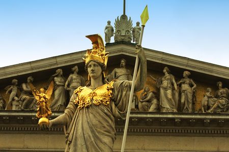 innere: The Austrian Parliament in Vienna,  a warrior with a spear.