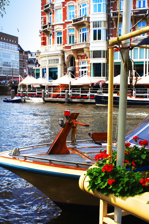 amsterdam canal: Amsterdam canal and architecture, netherlands;