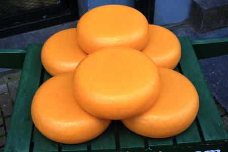 white cheese on the market Stock Photo
