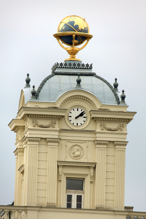 johannes: Johannes Kepler  statue on vienna facade with gold globus on the top Stock Photo