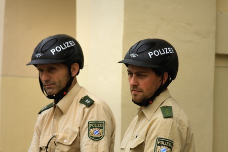 syria peace: MUNICH, Germany  - Aug 15 2015: German federal police officers in Munich in Germany Editorial
