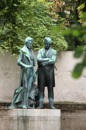 lanner: VIENNA, AUSTRIA - NOVEMBER 30, 2014: Memorial statue of Joseph Lanner and Johann Strauss the Elder in Vienna, Austria