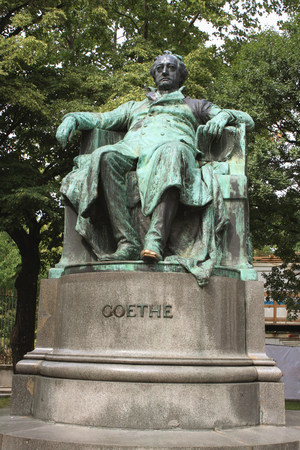 national poet: VIENNA, AUSTRIA - SEPTEMBER 2015: Statue of author Johann Wolfgang von Goethe designed by Edmund Hellmer in 1890.