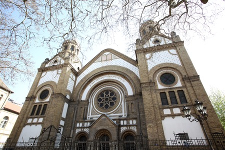 synagogues: Novi Sad synagogue is one of four synagogues that exist today in Serbia. It is located in the Jewish street in the city center . It was built in the period from 1906 to 1909 . Stock Photo
