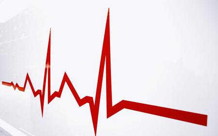 Red Flat line alert on heart
