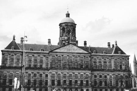 gabled houses: The Royal Palace on Dam Square in Amsterdam. Built as city hall during Dutch Golden Age in 17 century.