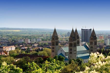 hungary: cityscape of Pecs, Hungary