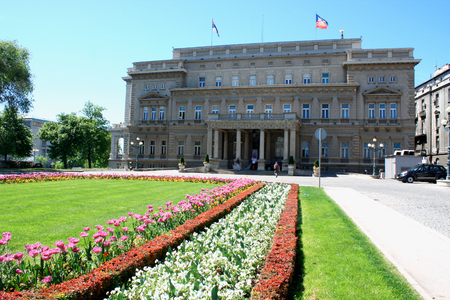 assembly hall: Belgrade, Serbia - famous Old Palace and flower gardens in the city. Currently local government headquarters - City Assembly.