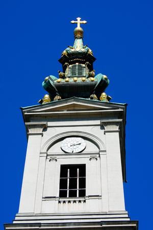 serbia xmas: saborna crkva orthodox church - tower in  Belgrade serbia