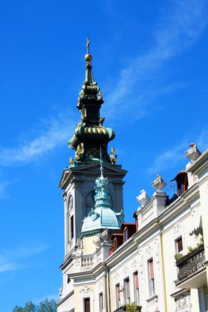 serbia xmas: Belgrade - famouse street and Saborna crkva orthodox church Stock Photo