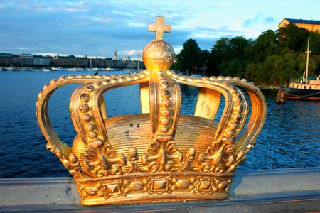 Famous Golden Crown In Stockholm, Sweden Editorial