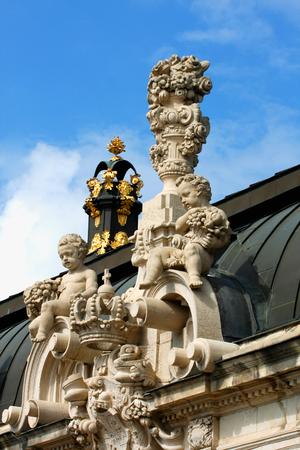rampart: Richly sculptured Rampart Pavilion. Zwinger Palace (architect Matthaus Poppelmann) - royal palace 17 century in Dresden.