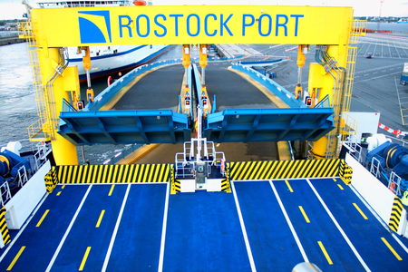 Ferry boat for car transport in rostock port.