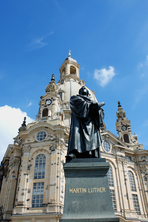 frauenkirche: Statue of Martin Luther in front of the Frauenkirche in Dresden, Germany Stock Photo