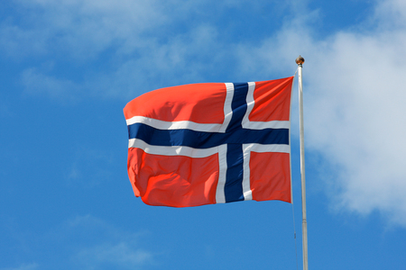 flagging: Close up shot of wavy flag of Norway Stock Photo