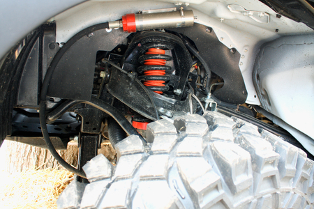 vibration: Shock Absorbers on car for reducing vibration Stock Photo