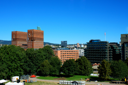 gildhall: landscape on City Hall (Radhuset) form fortress in Oslo, Norway