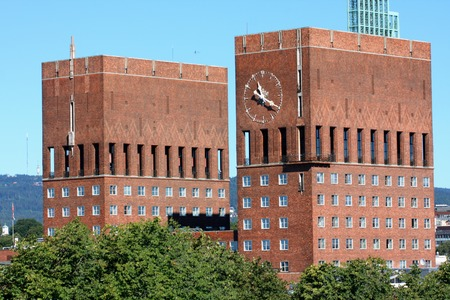 gildhall: two tower on City Hall (Radhuset), Oslo, Norway Editorial