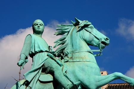 conqueror: Hojbro Plads Square with the equestrian statue of Bishop Absalon and St Kunsthallen Nikolaj church in Copenhagen