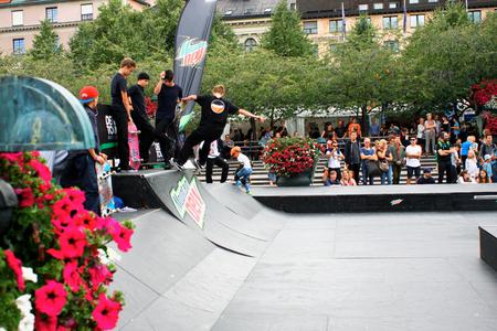Stockholm, aug 21. 2016 - Boy Skateboarding Jump Lifestyle Hipster Concept