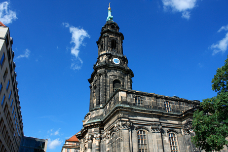 Kreuzkirche - Church of the Holy Cross in Dresden Germany is the largest church in Saxony