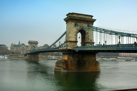 crone: Chain bridge on danube river in budapest city hungary Stock Photo