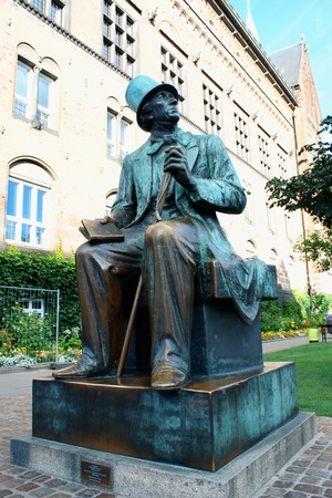 hans: A statue of Hans Christian Andersen in Copenhagen the capital of Denmark