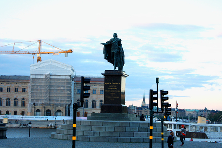 Statue of king Gustaf III in Stockholm, Sweden.