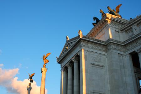 details of large column, Vittorio Emanuele, The Piazza Venezia in Rome, Italy
