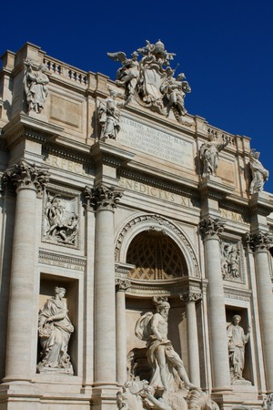 Top of famous Trevi Fountain in Rome, Italy.