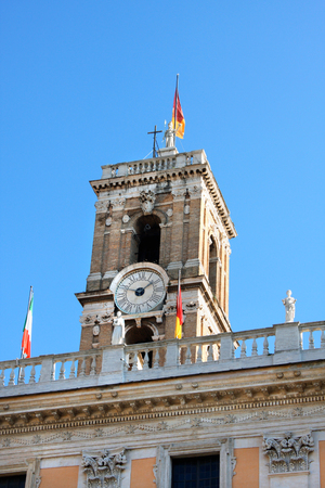 town hall of Rome with clock tower, Italy Editorial