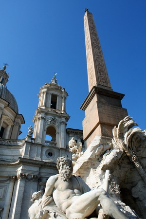 obelisk stone: Italy, Rome Piazza Navona, the fountain of four rivers designed by G.L.Bernini. Editorial