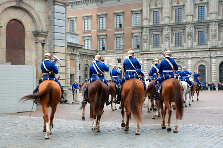 The Royal Guards - changing of the guards at the Royal Castle in Stockholm, Sweden Stock Photo