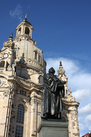 Statue of Martin Luther in front of the Frauenkirche in Dresden, Germany Editorial