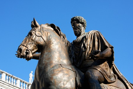 michelangelo: Piazza del Campidoglio - Statue Marco Aurelio at the Capitoline Hill in Rome, Italy