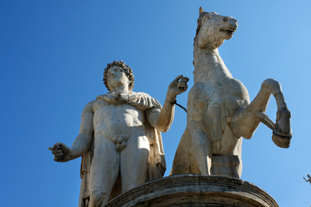 Statue of Castor with a horse in front of the Capitol Square, Rome, Italy. Editorial