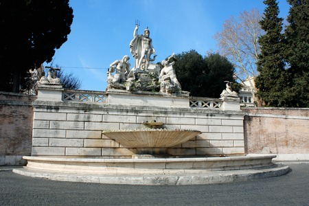 obelisk stone: Piazza del Popolo (Peoples Square) named after the church of Santa Maria del Popolo in Rome, Italy Stock Photo