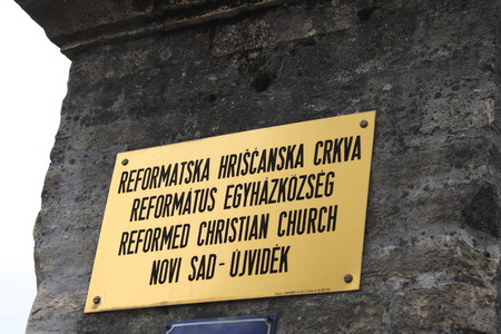 Table sign for Reformed Christian Church in Novi Sad, Serbia