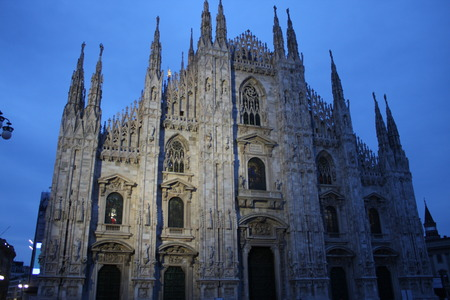 Night scene of Duomo Milan Cathedral in Italy Stock Photo