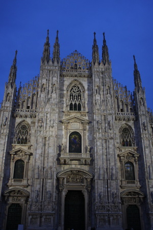 Nigjht scene of Duomo Milan Cathedral in Italy