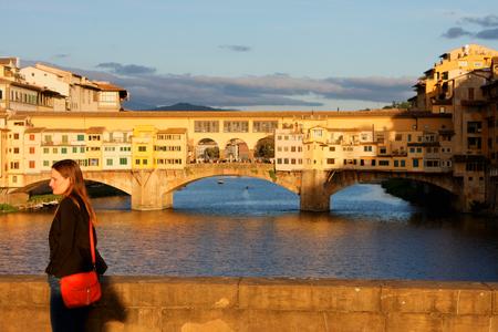 sunny Ponte Vecchio Florence Italy Stock Photo