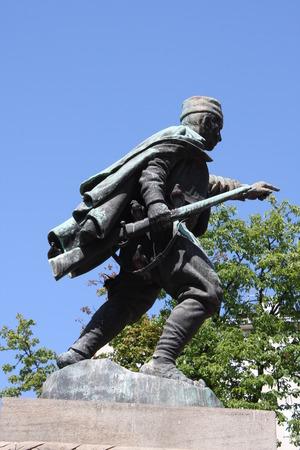 Statue of Duke Vuk (Vojin Popovic) in Belgrade, Serbia. Editorial