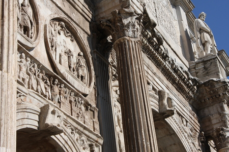 Details of the Triumphal Arch of Constantine, dedicated in AD 315 to celebrate Constantine