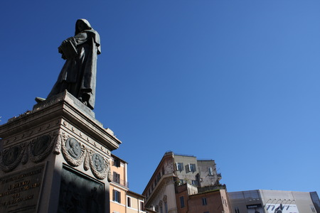 Giiordano Bruno Statue Campo de Fiori Rome Italy. Bruno was heretic burned at stake in Campo de Fiori. Statue by Ferrari in 1889