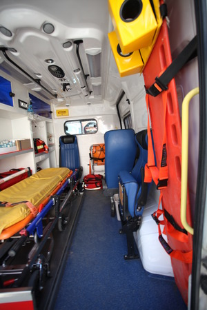 Ambulance car from inside and back space.