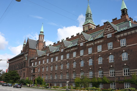 Fragment of the Copenhagen City Hall, Denmark. View from the courtyard.